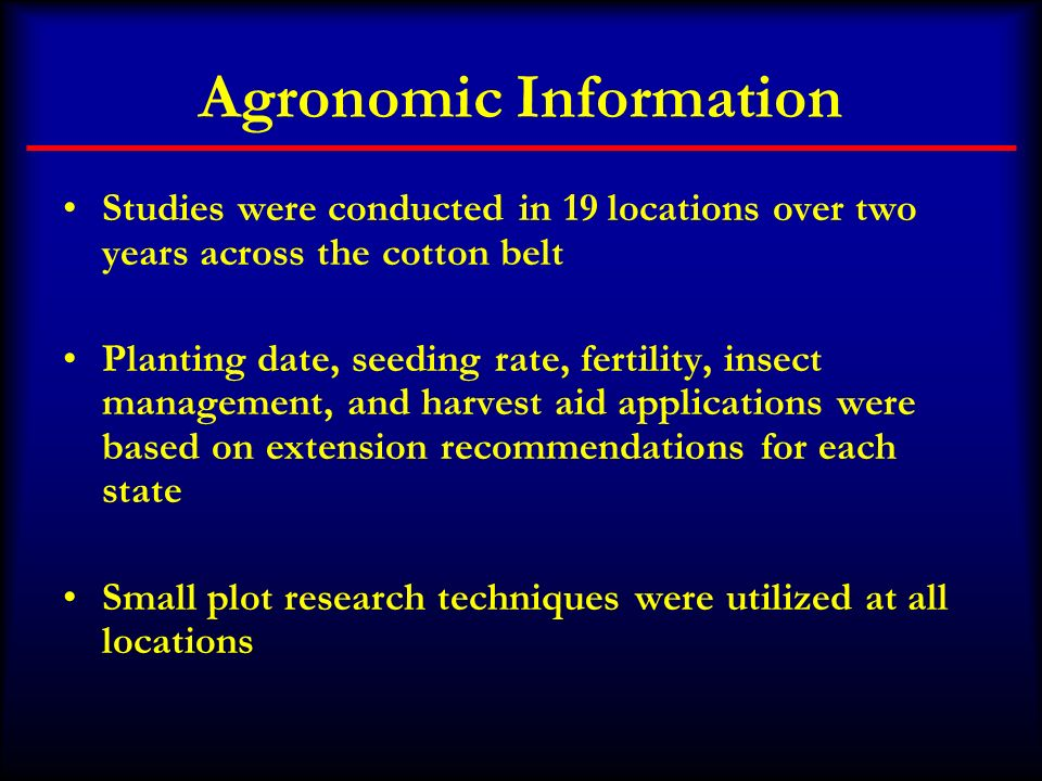 Agronomic Information
