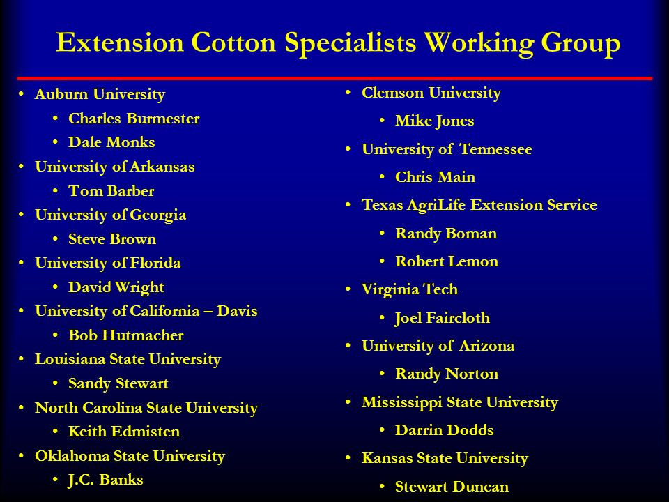 Extension Cotton Specialists Working Group