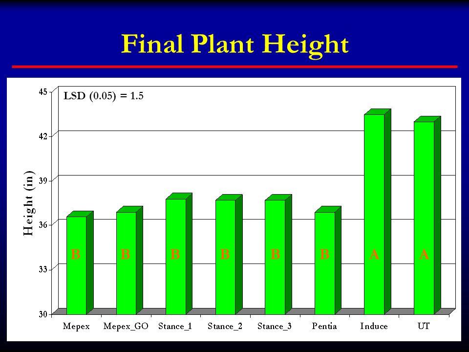 Final Plant Height LSD (0.05) = 1.5 B B B B B B A A