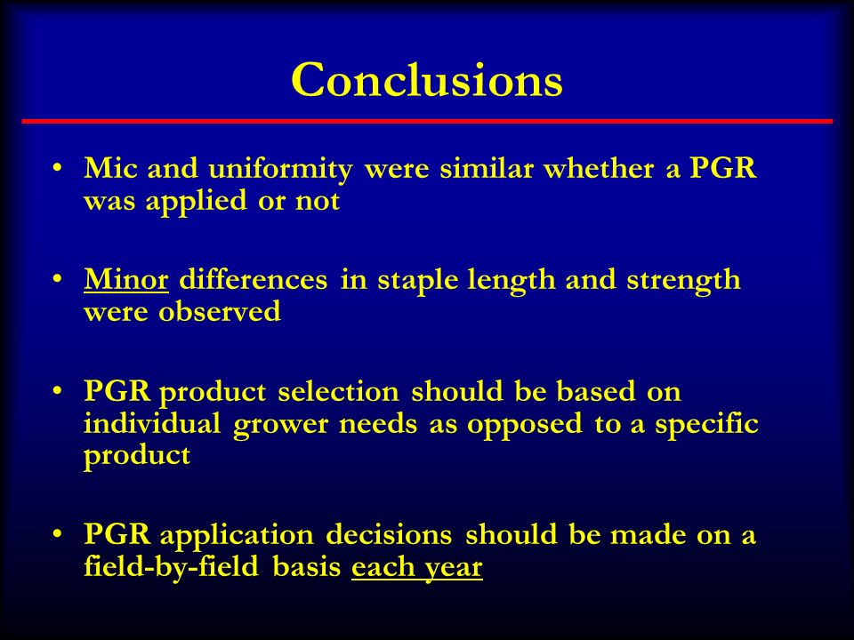 Conclusions Mic and uniformity were similar whether a PGR was applied or not. Minor differences in staple length and strength were observed.