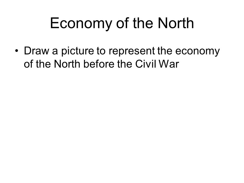 Economy of the North Draw a picture to represent the economy of the North before the Civil War