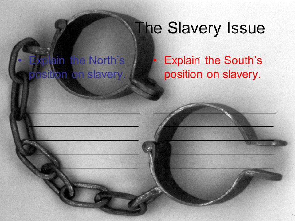 The Slavery Issue Explain the North's position on slavery.