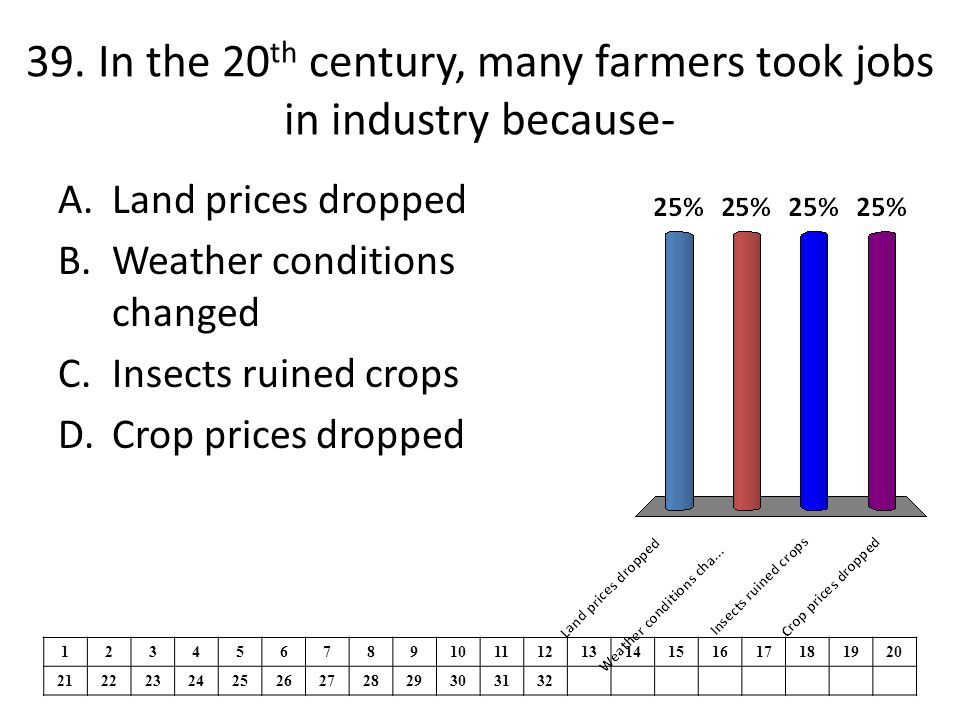 39. In the 20th century, many farmers took jobs in industry because-