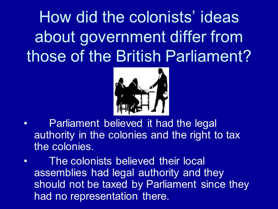 How did the colonists' ideas about government differ from those of the British Parliament