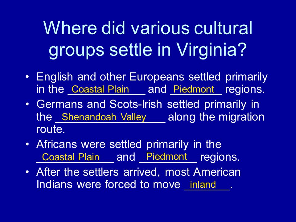 Where did various cultural groups settle in Virginia