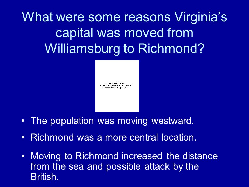 What were some reasons Virginia's capital was moved from Williamsburg to Richmond