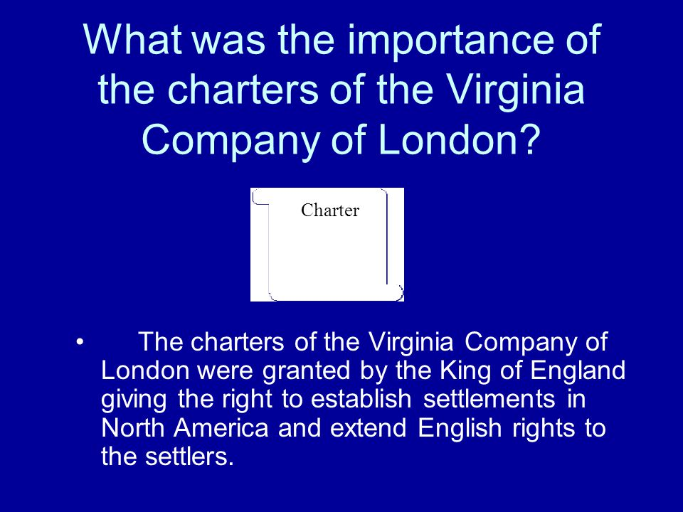 What was the importance of the charters of the Virginia Company of London
