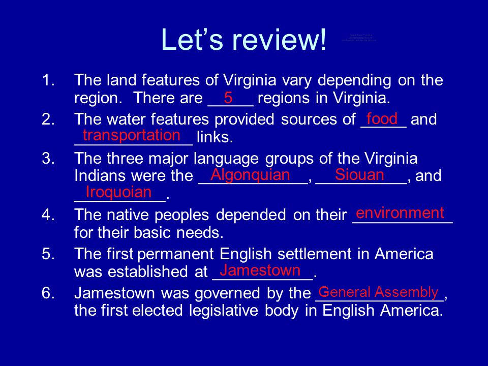 Let's review! The land features of Virginia vary depending on the region. There are _____ regions in Virginia.