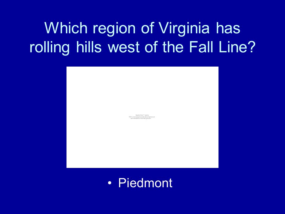 Which region of Virginia has rolling hills west of the Fall Line
