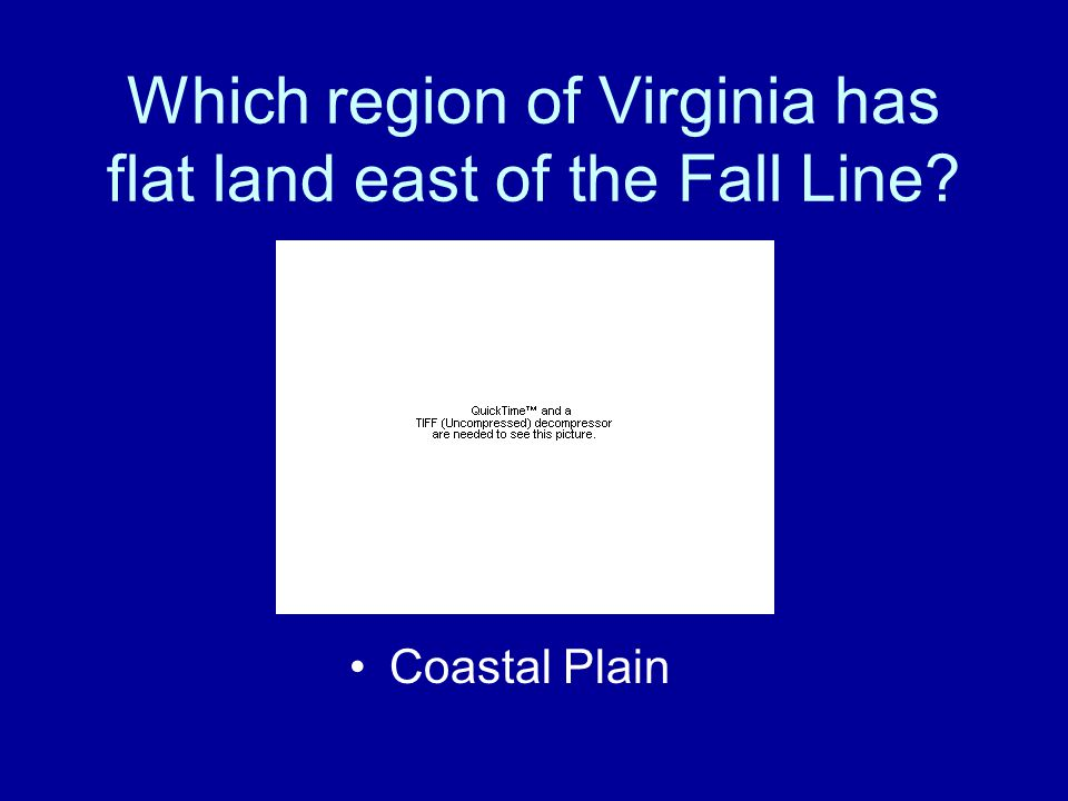 Which region of Virginia has flat land east of the Fall Line