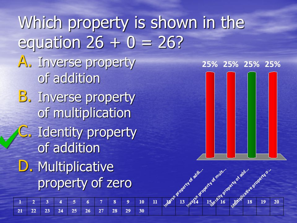 Which property is shown in the equation 26 + 0 = 26
