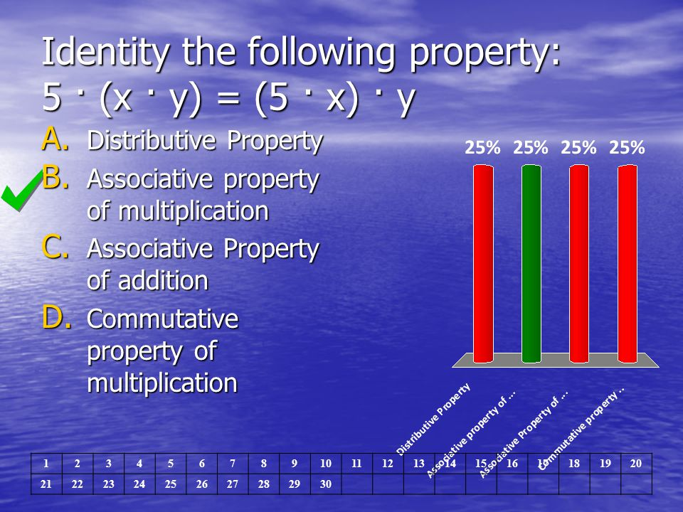 Identity the following property: 5 · (x · y) = (5 · x) · y