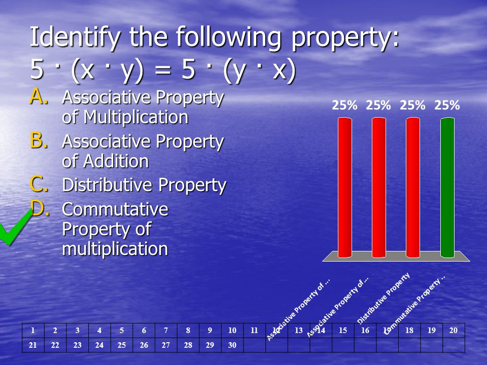 Identify the following property: 5 · (x · y) = 5 · (y · x)
