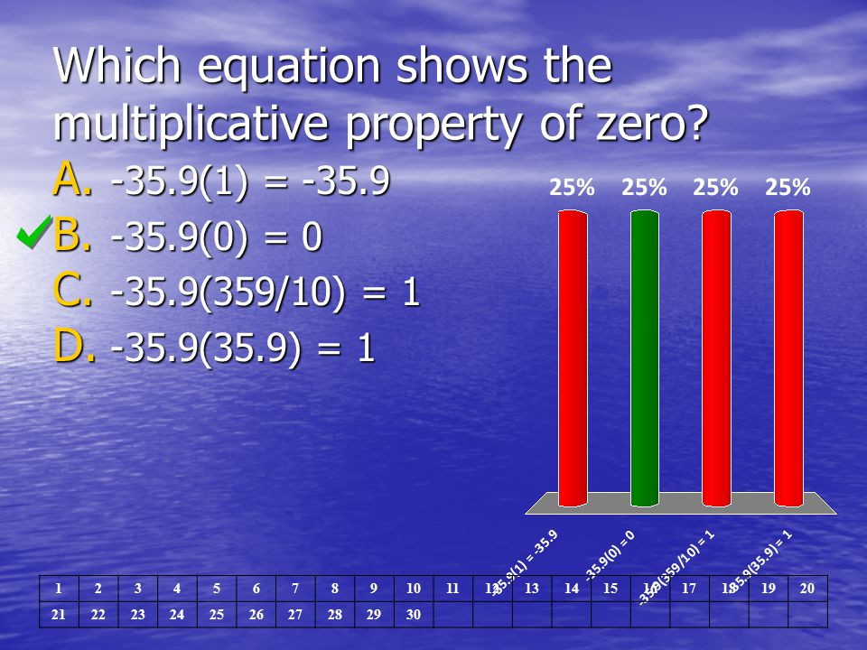Which equation shows the multiplicative property of zero