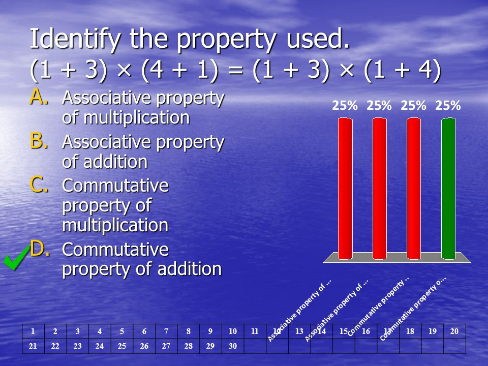 Identify the property used. (1 + 3) × (4 + 1) = (1 + 3) × (1 + 4)