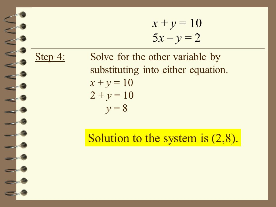 Solution to the system is (2,8).