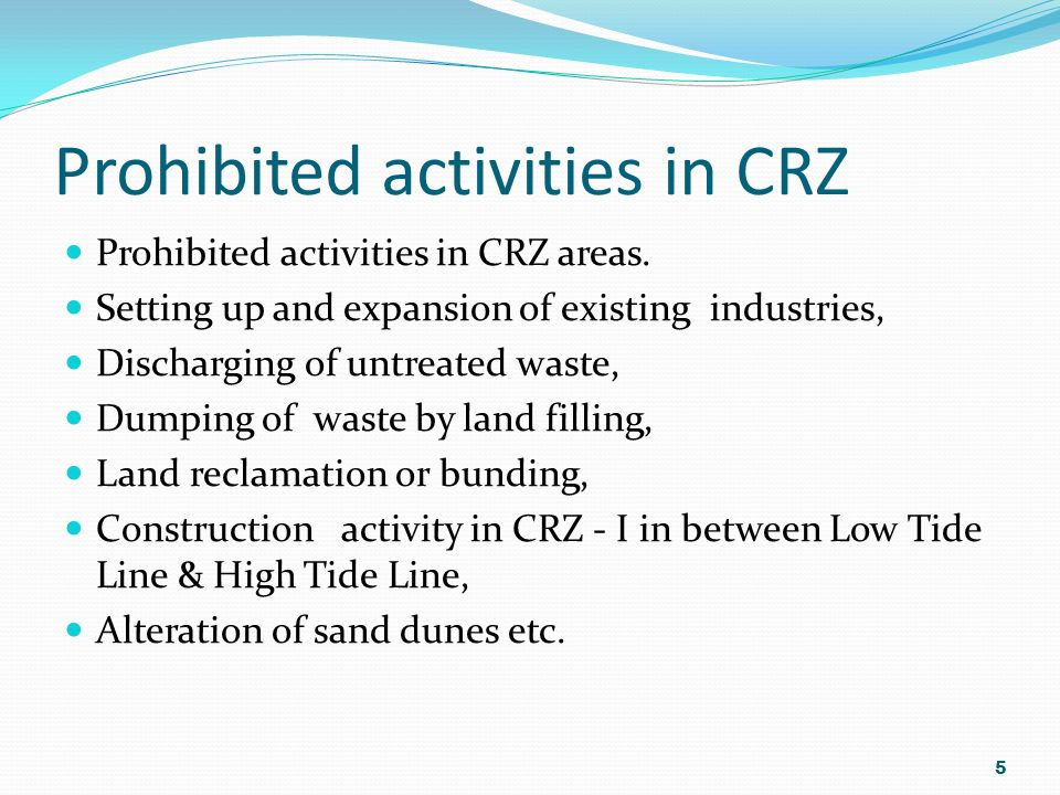 Prohibited activities in CRZ