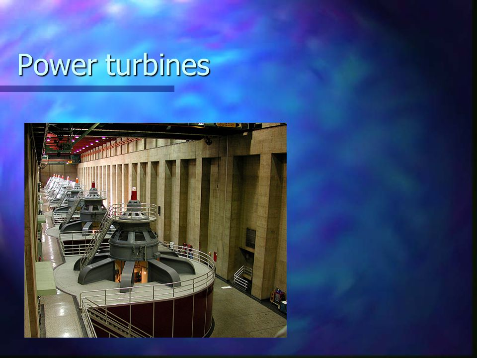 Power turbines P stays about the same v doesn't change much either, the turbines convert (rho g h)*flow rate to electrical power.