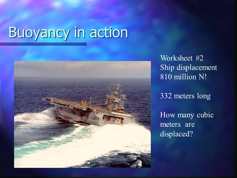 Buoyancy in action Worksheet #2 Ship displacement 810 million N!