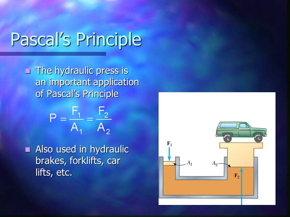 Pascal's Principle The hydraulic press is an important application of Pascal's Principle.