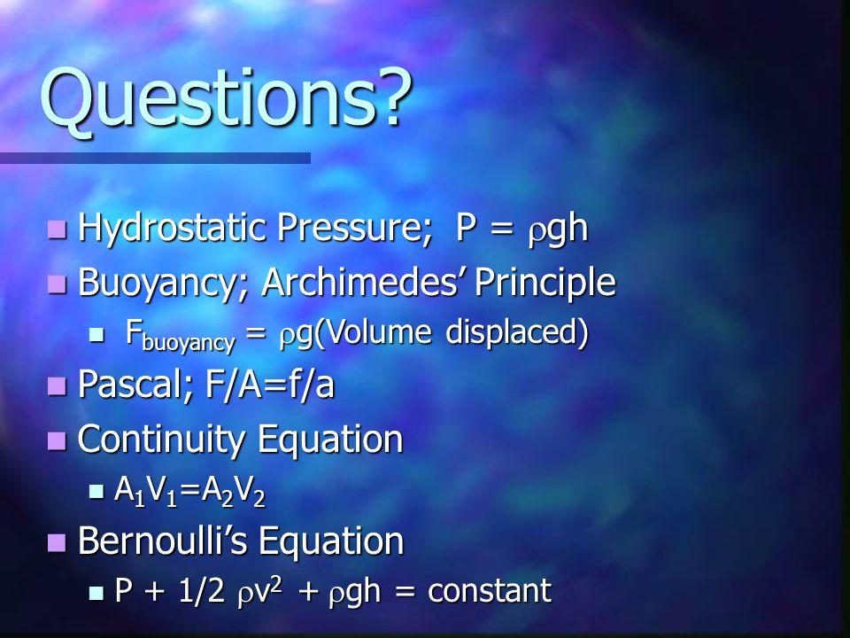 Questions Hydrostatic Pressure; P = rgh