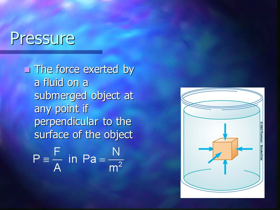 Pressure The force exerted by a fluid on a submerged object at any point if perpendicular to the surface of the object.