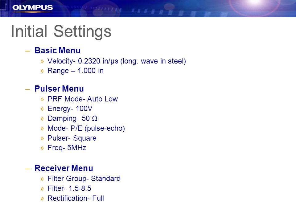 Initial Settings Basic Menu Pulser Menu Receiver Menu