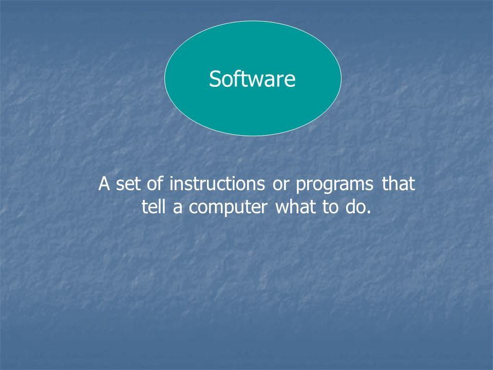 A set of instructions or programs that tell a computer what to do.