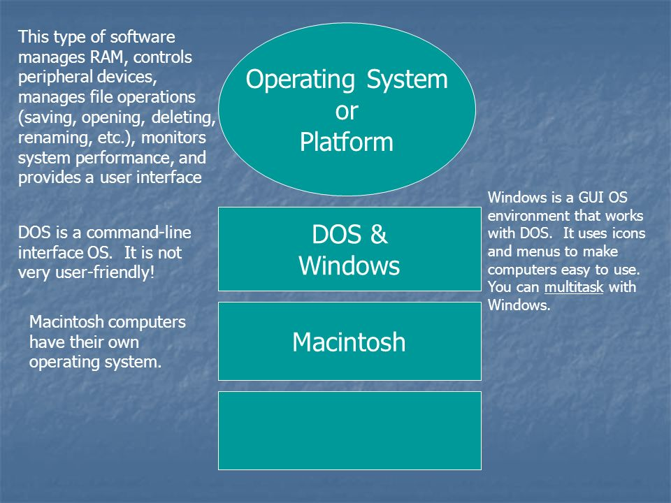 Operating System or Platform DOS & Windows Macintosh