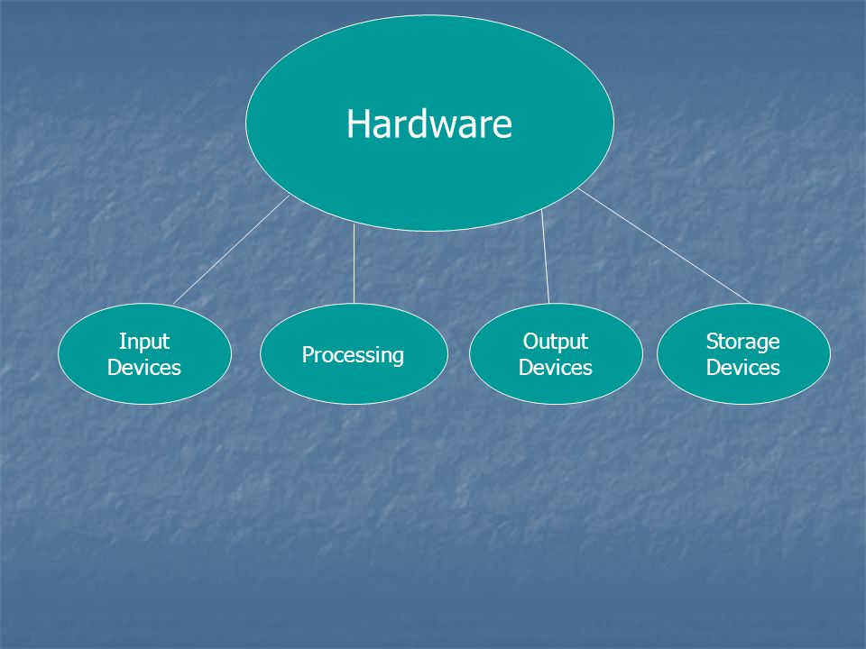 Hardware Input Devices Processing Output Devices Storage Devices
