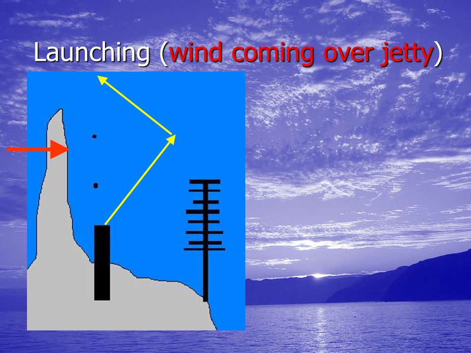 Launching (wind coming over jetty)