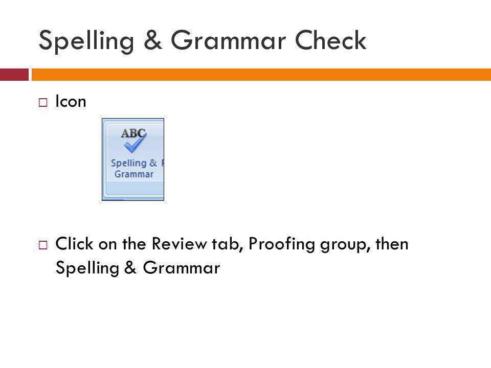 Spelling & Grammar Check