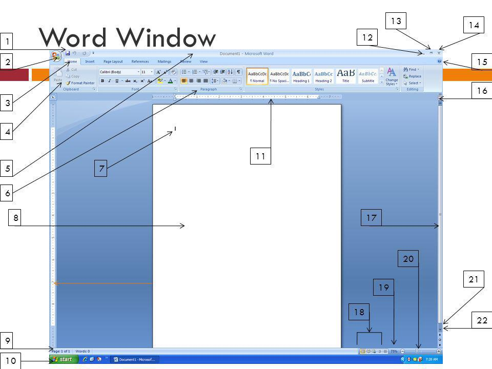 Word Window 13 14 12 1 2 15 16 3 4 11 5 7 6 8 17 20 21 19 18 22 9 10