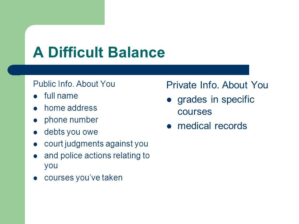 A Difficult Balance Private Info. About You grades in specific courses