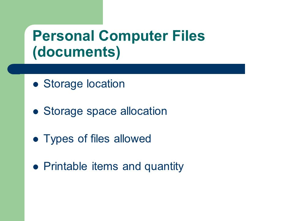 Personal Computer Files (documents)