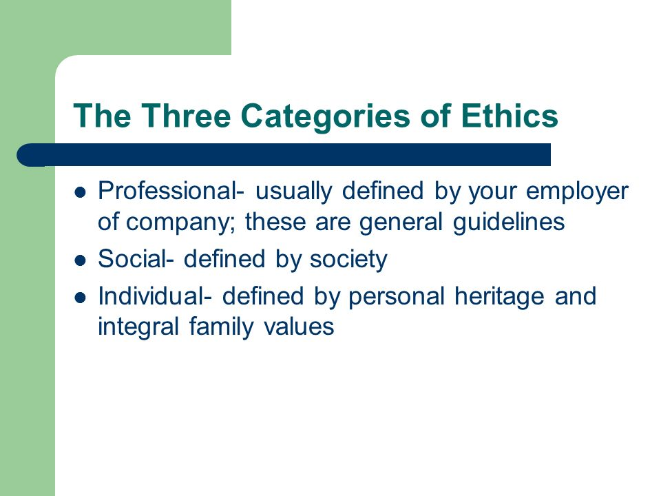The Three Categories of Ethics