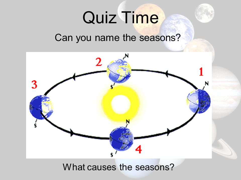 Quiz Time Can you name the seasons What causes the seasons