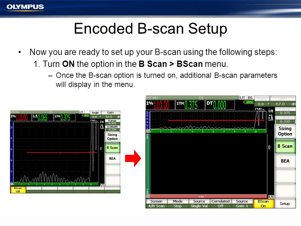 Encoded B-scan Setup Now you are ready to set up your B-scan using the following steps: Turn ON the option in the B Scan > BScan menu.