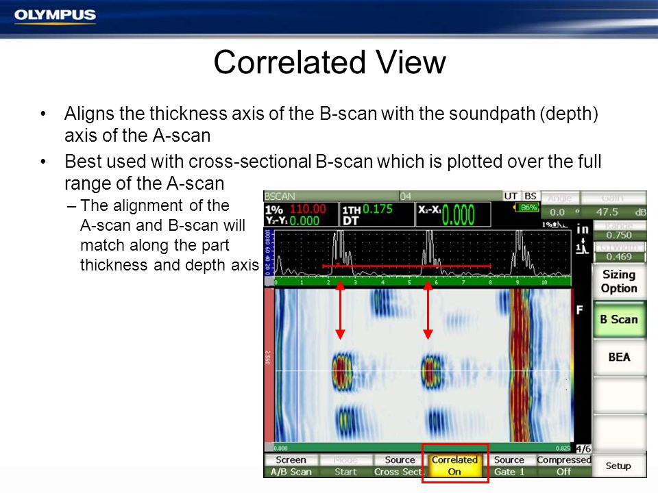Correlated View Aligns the thickness axis of the B-scan with the soundpath (depth) axis of the A-scan.