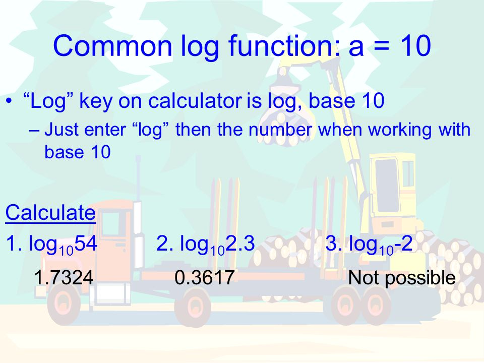 Common log function: a = 10