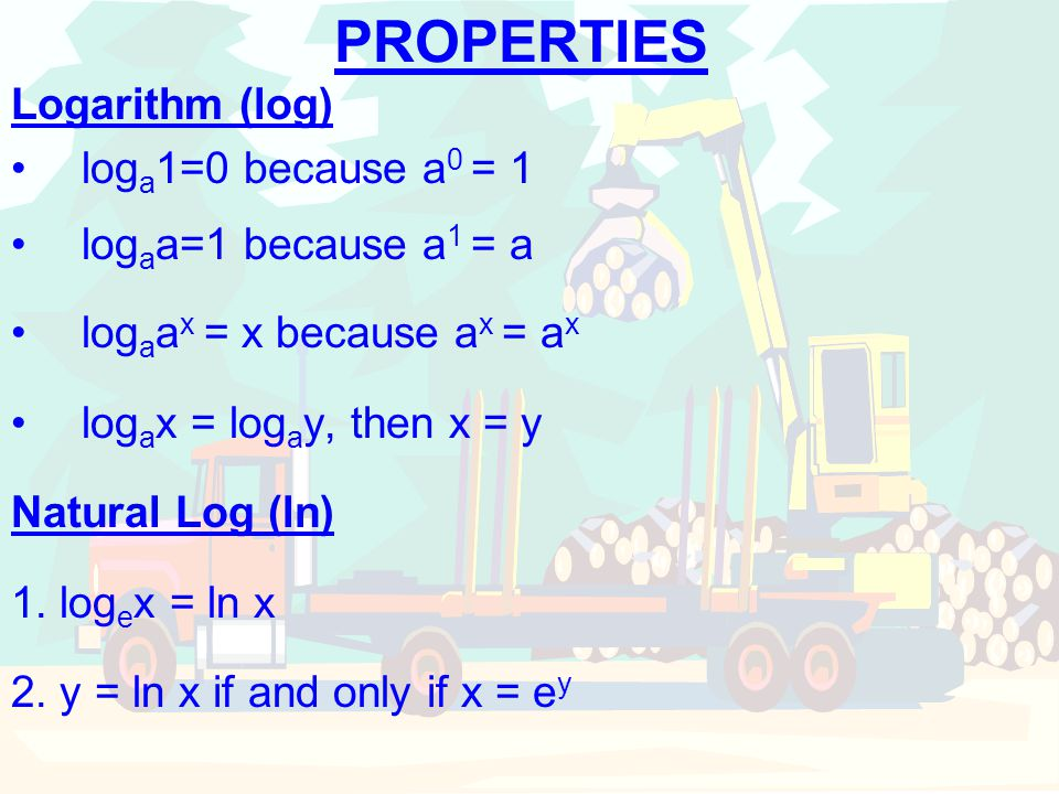 PROPERTIES Logarithm (log) loga1=0 because a0 = 1