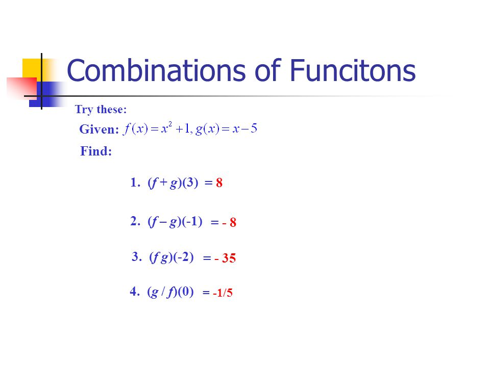 Combinations of Funcitons