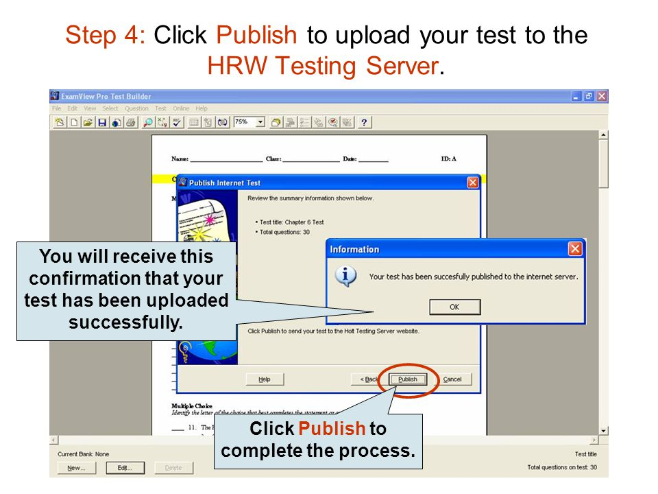 Step 4: Click Publish to upload your test to the HRW Testing Server.