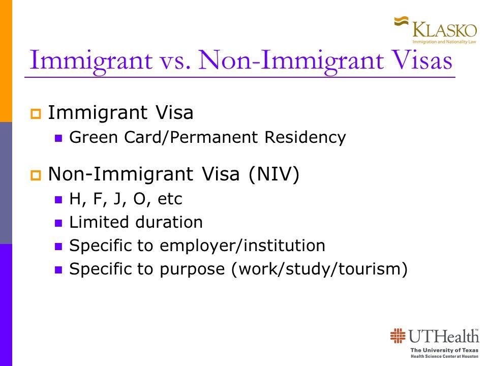 Immigrant vs. Non-Immigrant Visas
