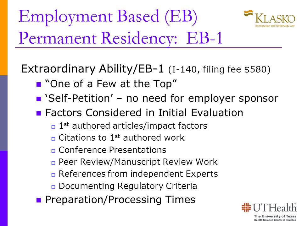Employment Based (EB) Permanent Residency: EB-1