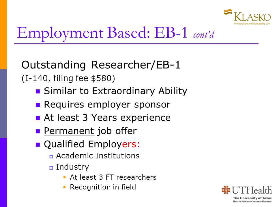 Employment Based: EB-1 cont'd
