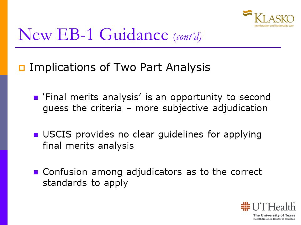 New EB-1 Guidance (cont'd)