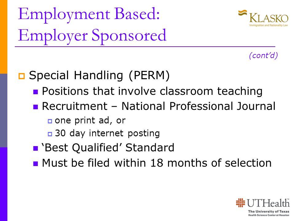 Employment Based: Employer Sponsored