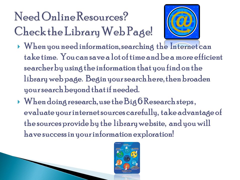 Need Online Resources Check the Library Web Page!