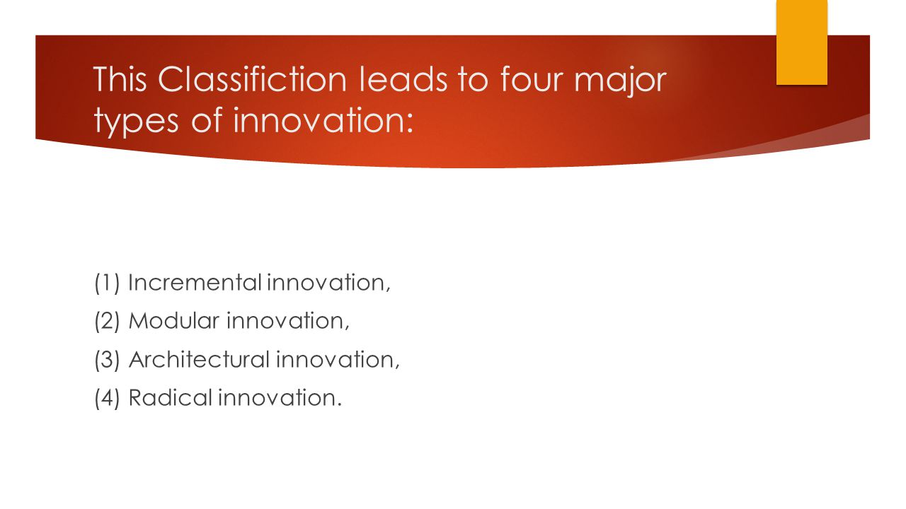 This Classifiction leads to four major types of innovation: